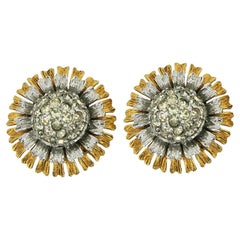 Hattie Carnegie 1950s Vintage Rhinestone Daisy Earrings