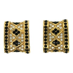 Ciner 1970s Vintage Rhinestone Pattern Earrings