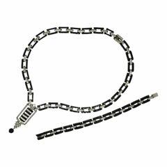 DRGM 1920s Art Deco Black Plastic and Rhinestone Vintage Necklace & Bracelet Set