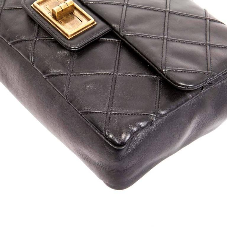 CHANEL Clasp 2.55 Black Smooth Lamb Leather Bag 5