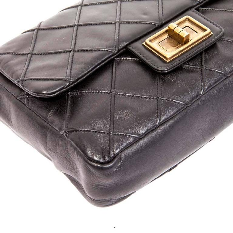 CHANEL Clasp 2.55 Black Smooth Lamb Leather Bag 4