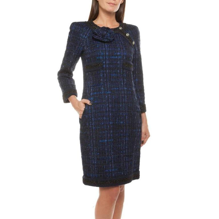 Chanel Dress Paris Shanghai Collection in Silk Tweed and Bicolor Wool 2