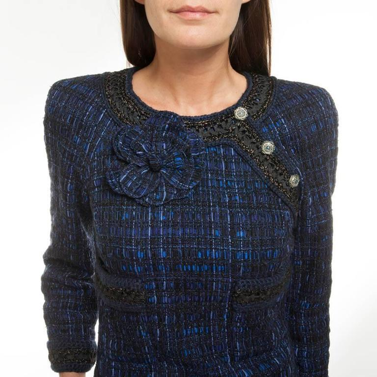 Chanel Dress Paris Shanghai Collection in Blue Silk Tweed and Bicolor Wool 7