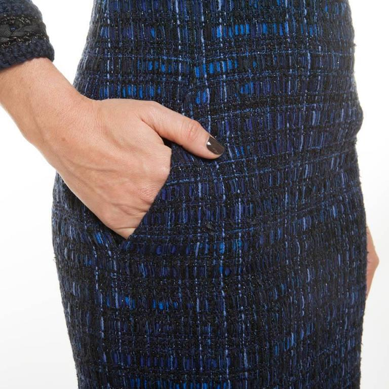 Chanel Dress Paris Shanghai Collection in Blue Silk Tweed and Bicolor Wool 6