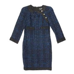 Chanel Dress Paris Shanghai Collection in Blue Silk Tweed and Bicolor Wool