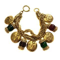 CHANEL Vintage Charms Gilt Metal Bracelet