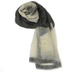 CHANEL Shawl in Ivory, Anthracite, Dark Gray Border, Silver Threads