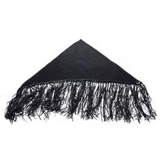 Rare Hermes Fringed Shawl in black Cashmere, Wool and Lamb