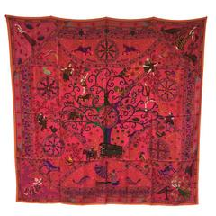 HERMES Peuples du Vent designed by C.HENRY Cashmere and Silk Shawl