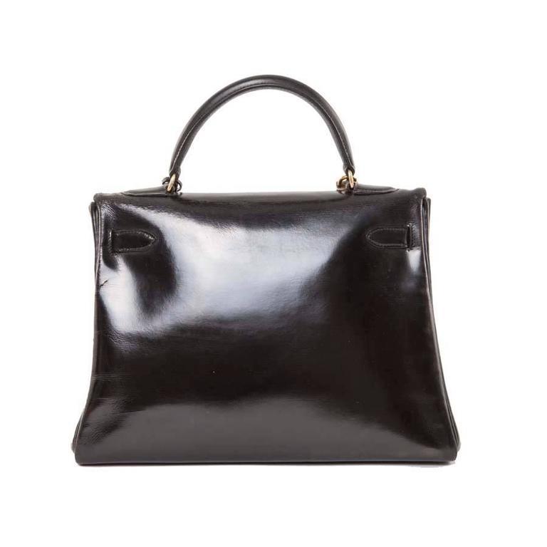 HERMES Vintage Kelly 32 Black Box Leather Bag 3