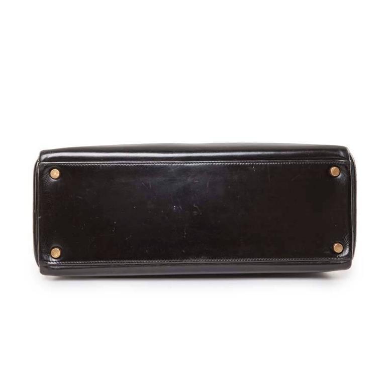 HERMES Vintage Kelly 32 Black Box Leather Bag 4