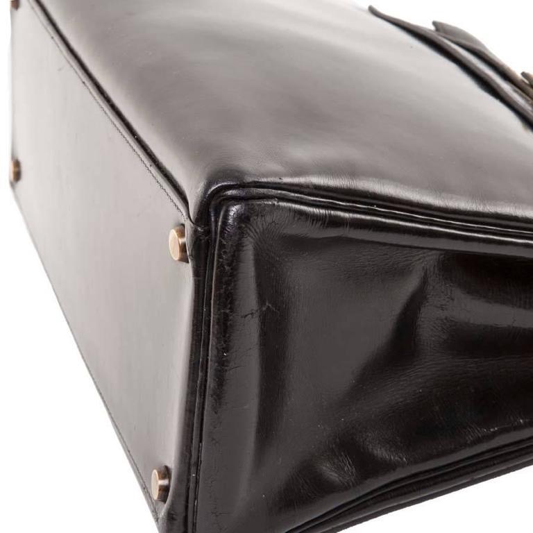 HERMES Vintage Kelly 32 Black Box Leather Bag 6