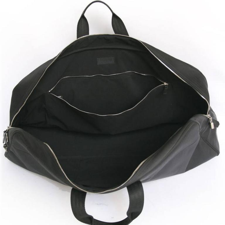 HERMES Canvas Black Chevrons Tennis Bag with its Black Towel 6