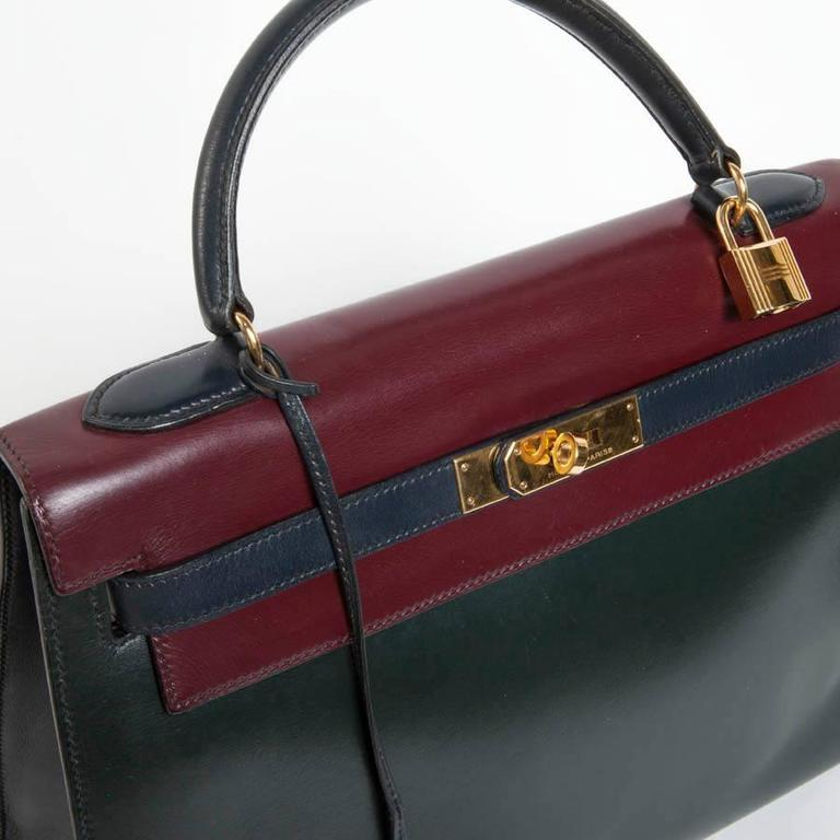 Vintage HERMES Kelly 32 Navy Blue, Burgundy and Green English Leather 6