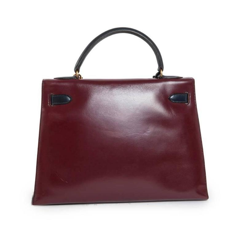 Vintage HERMES Kelly 32 Navy Blue, Burgundy and Green English Leather 3