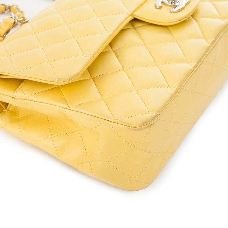 Women's CHANEL  Classic Double Flap Bag Quilted Yellow Leather For Sale