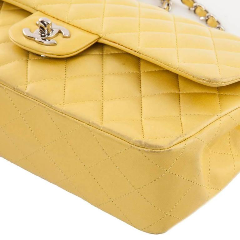 CHANEL  Classic Double Flap Bag Quilted Yellow Leather For Sale 1