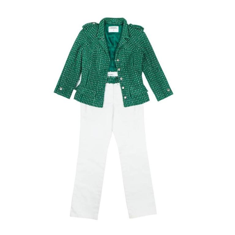 Chanel Set in Green Tweed and White Jeans 36FR