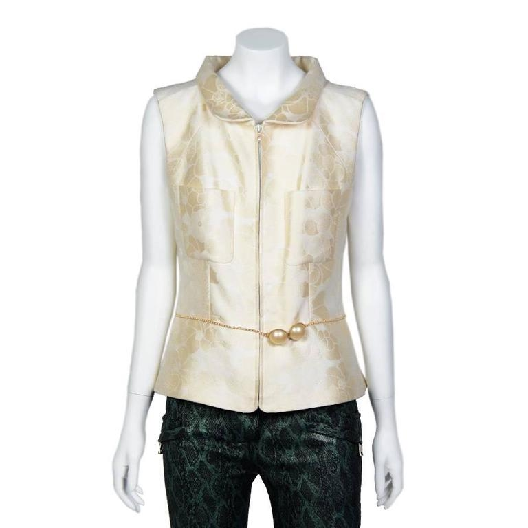 Chanel Spring 2001 Cotton Sleeveless Jacket with a Beaded Pearl Belt 42FR 2