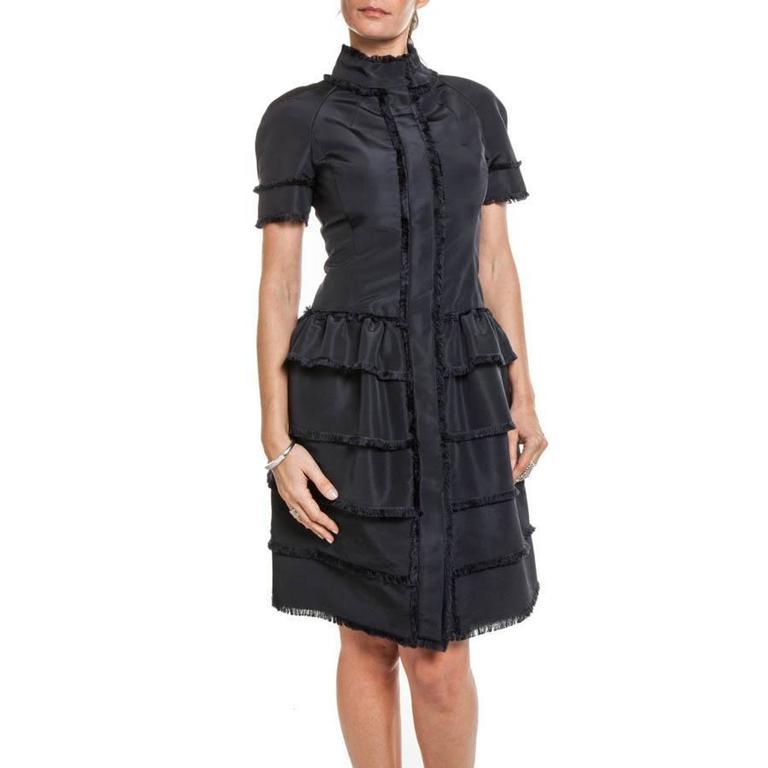 Oscar de la Renta Cocktail Dress in Blue Silk Taffeta 2