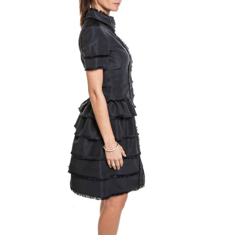 Oscar de la Renta Cocktail Dress in Blue Silk Taffeta 4