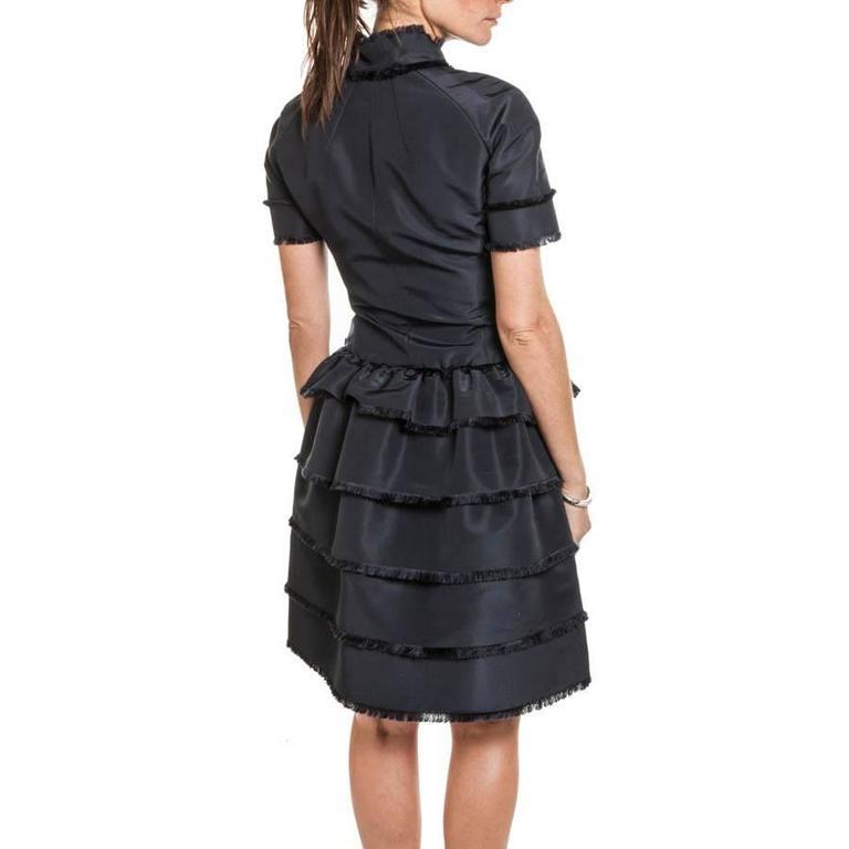 Black Oscar de la Renta Cocktail Dress in Blue Silk Taffeta For Sale