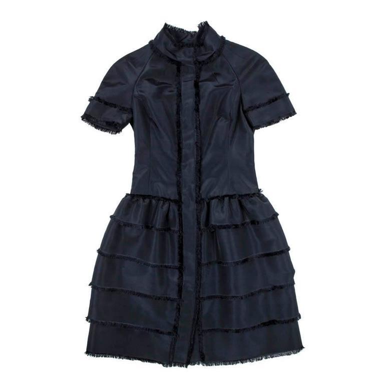 Oscar de la Renta Cocktail Dress in Blue Silk Taffeta For Sale