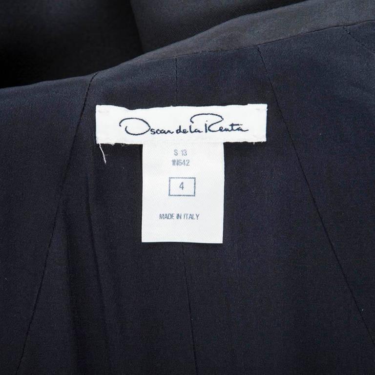 Oscar de la Renta Cocktail Dress in Blue Silk Taffeta For Sale 4