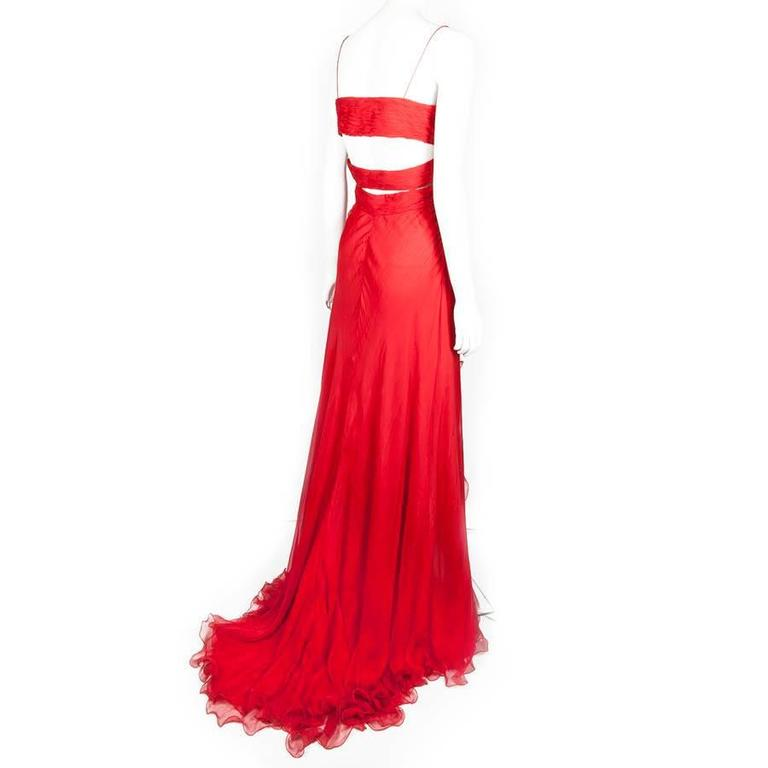 Valentino Evening Red Silk Long Dress at 1stdibs