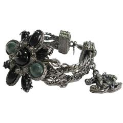 Chanel Silver Tone Multiple Chains and Cross Brooch in Green Resin Bracelet
