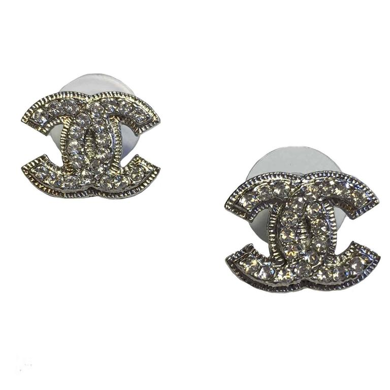Chanel Cc Silver Tone Studs Set With Rhinestones Earrings For