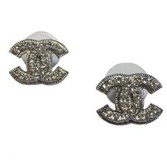 Chanel CC Silver Tone Studs Set With Rhinestones Earrings