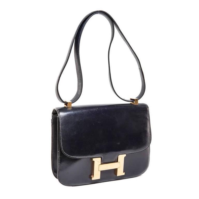 Hermès Vintage Navy Blue Box Calf Constance Bag