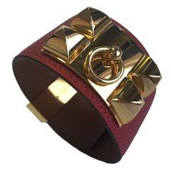 Hermès CDC Bracelet in Red Epsom Calfskin Gold Plated Hardware