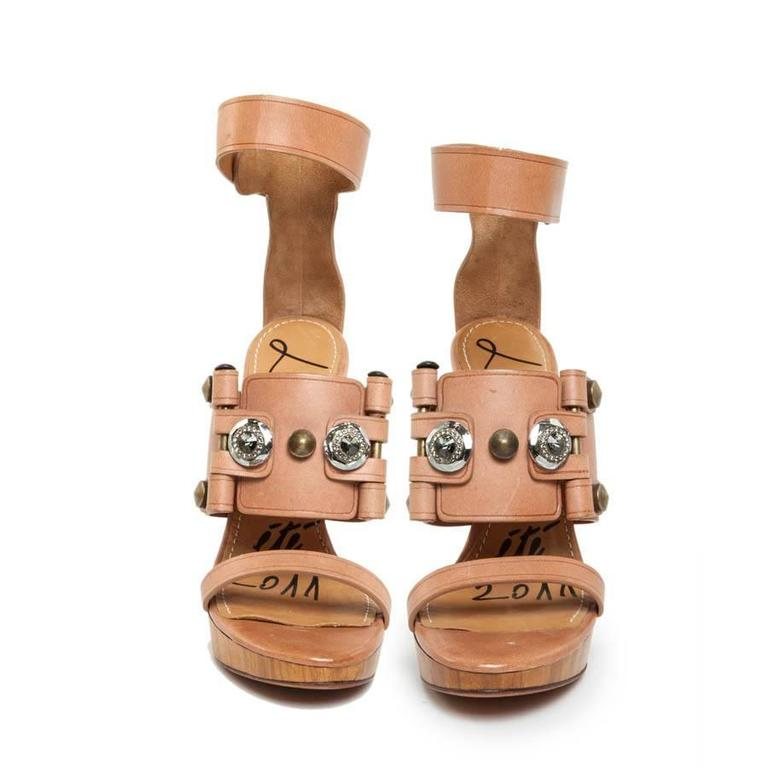 Brown LANVIN Collection 2011 High-Heeled Natural Leather and Swarovski Crystal Sandals For Sale