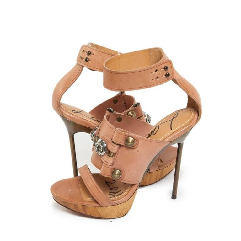 LANVIN Collection 2011 High-Heeled Natural Leather and Swarovski Crystal Sandals In New Condition For Sale In Paris, FR