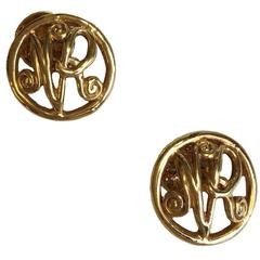 NINA RICCI Cufflinks Gilt Metal