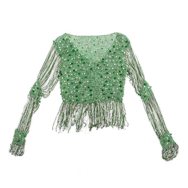 Azzaro Top in Crochet and Green Pearls