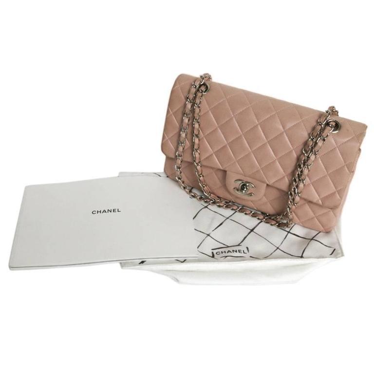 Beige CHANEL Timeless Flap Shoulder Bag in Pink Leather  For Sale