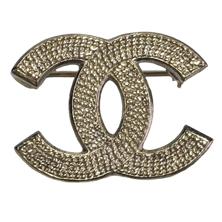 and sold new gold pearl cc pin out itm crystal loading s brand image is channel authentic chanel brooch