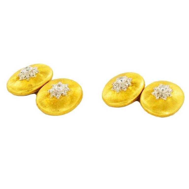 Buccellati Cufflinks in 18K Gold and Diamonds For Sale