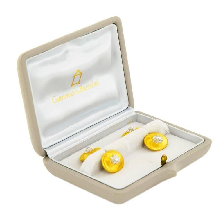 Buccellati Cufflinks in 18K Gold and Diamonds In New Condition For Sale In Paris, FR