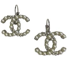 Chanel CC Pearl and Silver Plated Metal Stud Earrings