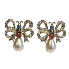 Chanel Butterfly Ear Studs AW2016/17 in Gilt Metal, Glass Pearl and Rhinestones