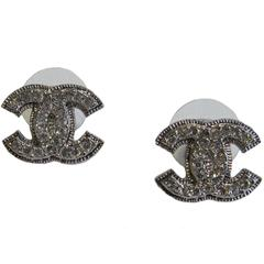 Chanel Earrings in Rhinestones and Silver Plated Metal