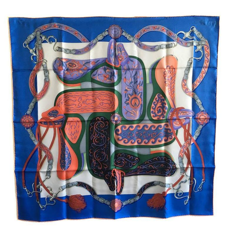 "HERMES scarf ""Amazone Festival"" in myosotis, white and salmon silk"