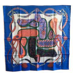 "HERMES scarf ""Amazone Festival"" in myosotis, white and salmon silk"