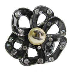 Chanel Ring T54 Ruthenium Flower Glass Pearl Dark Green Resin and Rhinestones
