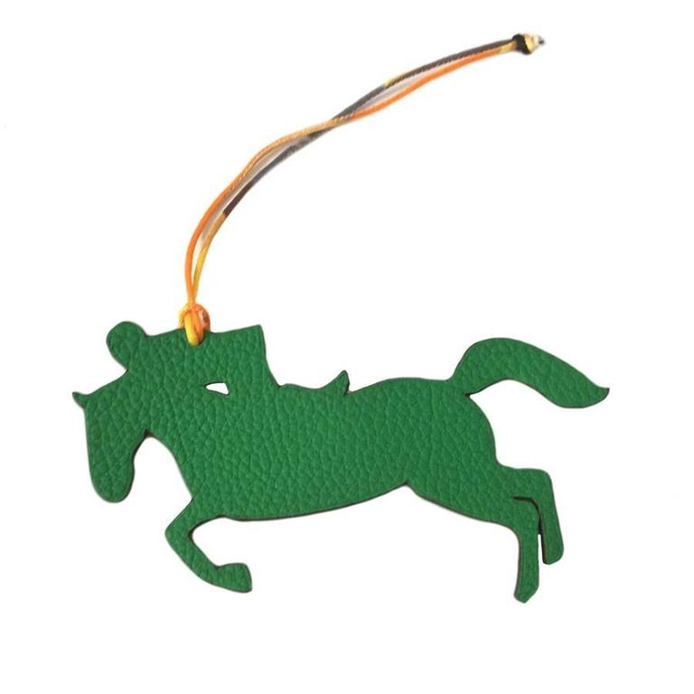 HERMES Charm Horse and Jockey in Bicoloured Green and Brown Leather