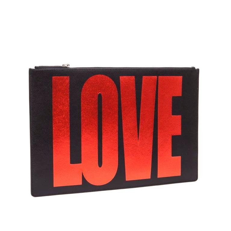 GIVENCHY 'Love' Model Pouch in Black Leather